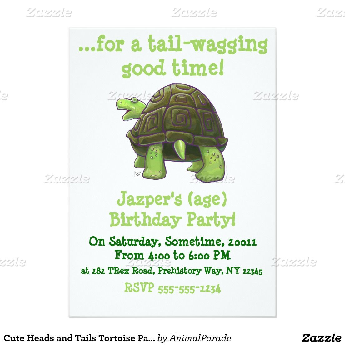 Cute Heads And Tails Tortoise Party Center Invitation Zazzle Com