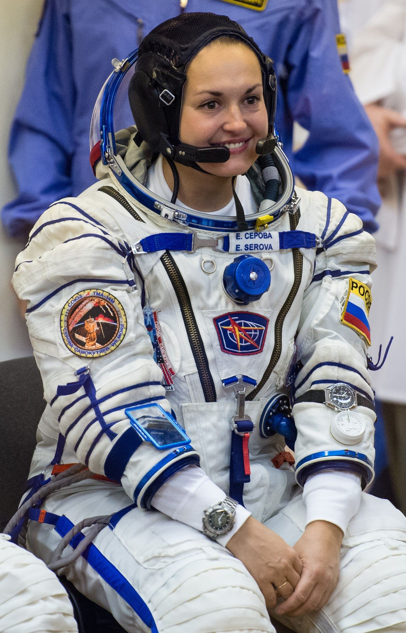 Expedition 41 Flight Engineer Elena Serova of the Russian Federal Space Agency (Roscosmos) is seen prior to having her Russian Sokol suit pressure checked in preparation for her launch onboard the Soyuz TMA-14M spacecraft on Thursday, September 25, 2014, at the Baikonur Cosmodrome in Kazakhstan. - via Friends of NASA