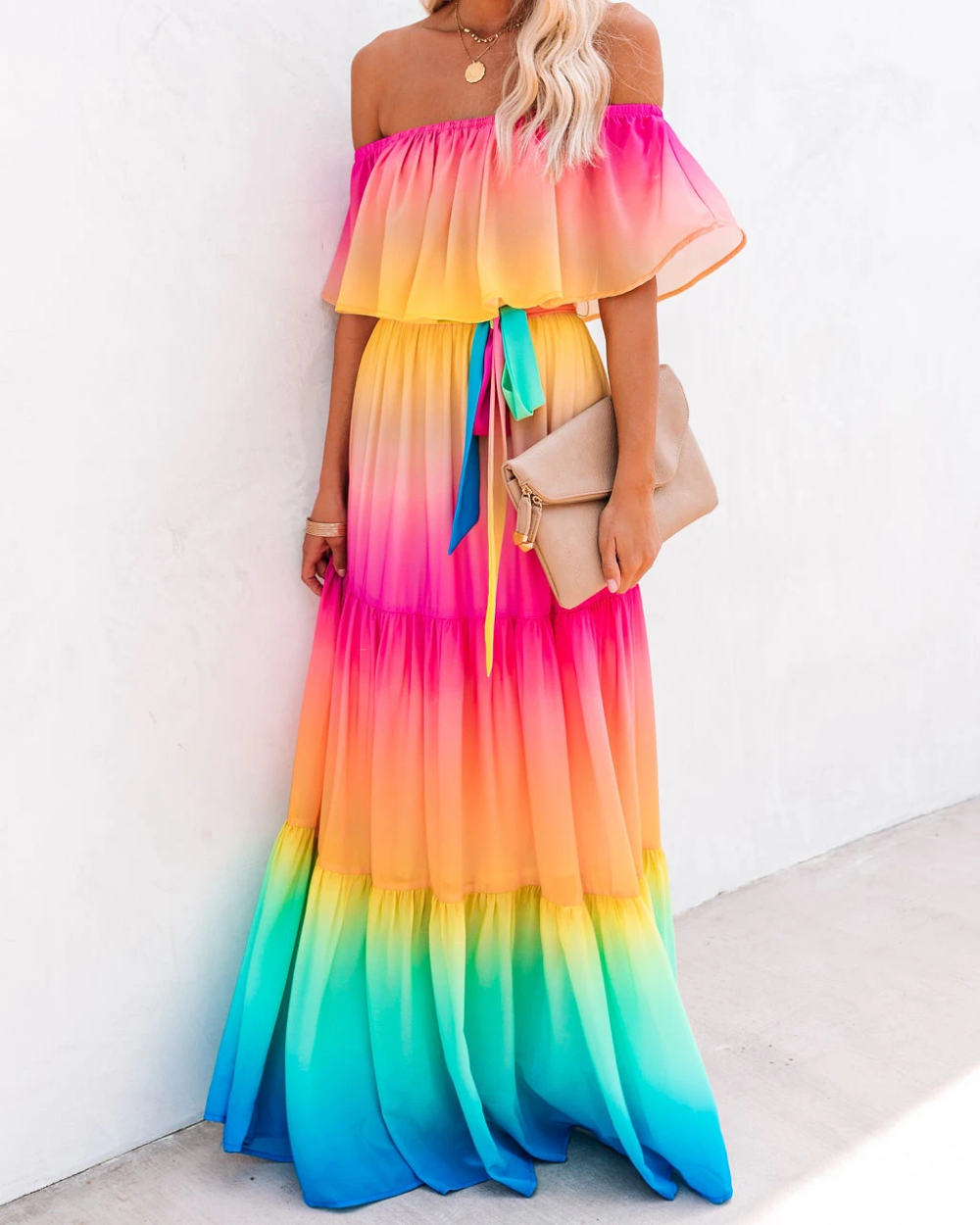 Model Is Wearing A Size Small Height Is 5 7 Bust Is 32 Waist 25 And Hips 30 Relaxed Fit Self Lining Maxi Dress Rainbow Dress Women S A Line Dresses [ 1250 x 1000 Pixel ]