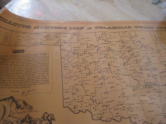 Oklahoma Treasure Maps Treasure Hunters map of Oklahoma by threeGGGs on Etsy, $75.00
