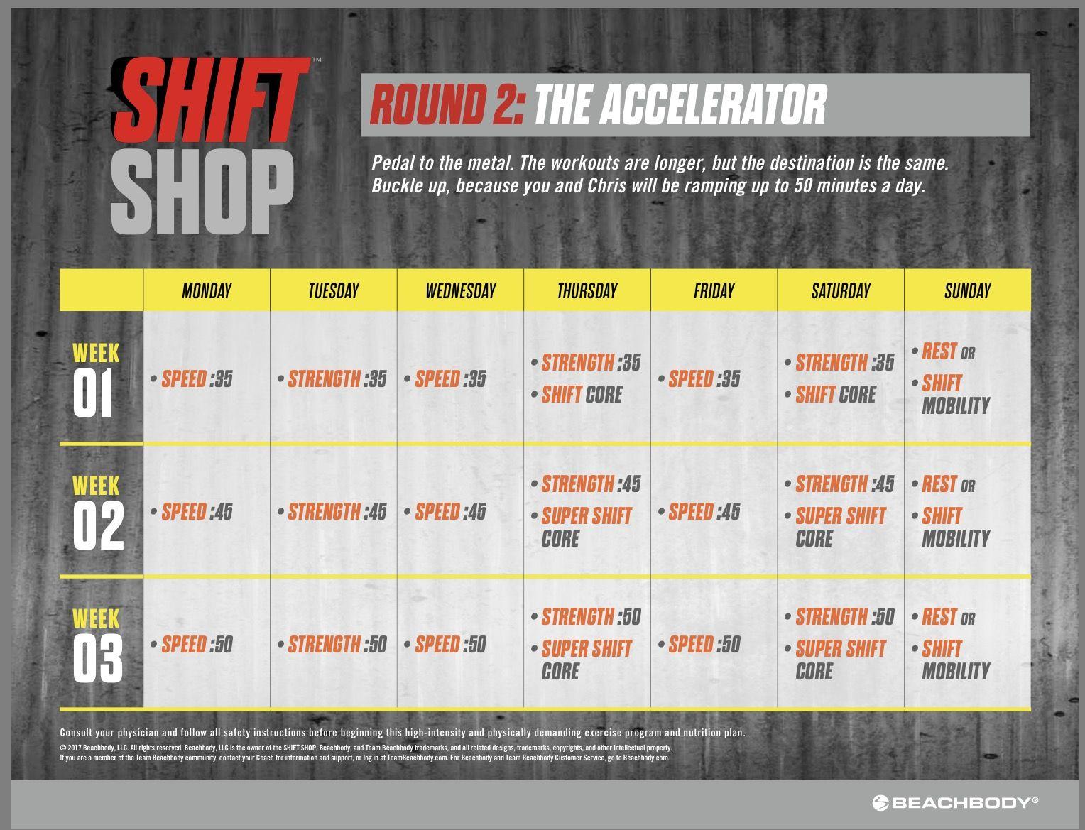 Shift Shop Round 2 Calendar Workout Calendar Beachbody Programs Diet Motivation