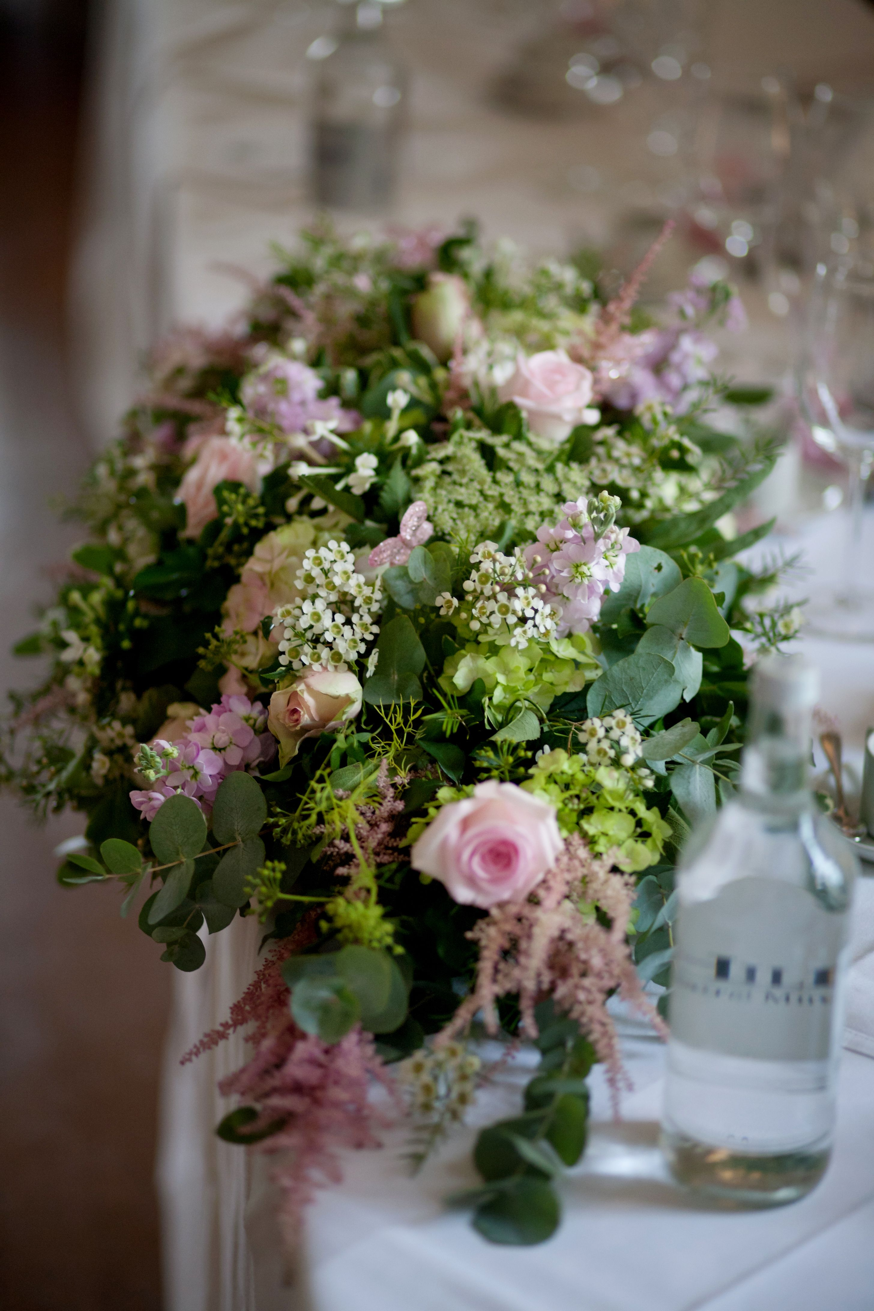 Pink & Green Top Table Table flowers, 8th wedding