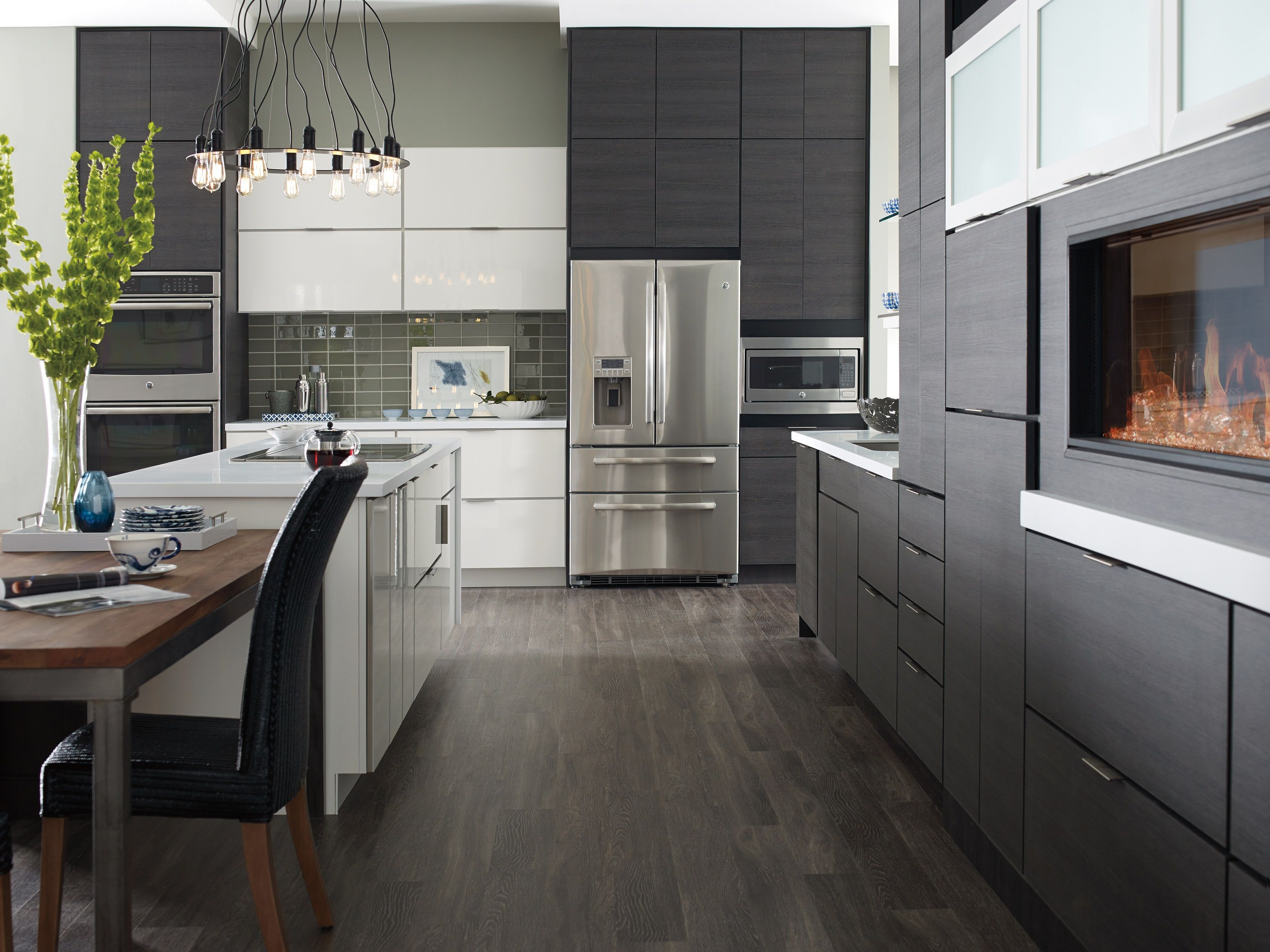 Contemporary White And Grey Thermofoil Slab Doors Kitchens