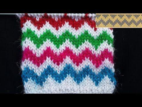 Multi Colour Zig Zag Knitting Pattern Hindi Youtube Muestras