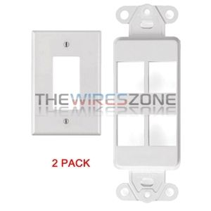 5//pk White 2 Port Decora Keystone Snap-in Jack Modular Wall Insert Cover Plate