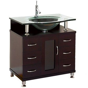 Accara 30 Bathroom Vanity Espresso W Clear Or Frosted Glass