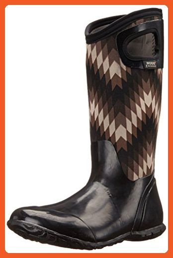 Bogs Women's North Hampton Native All Weather Rain Boot, Black, Gray,8 M