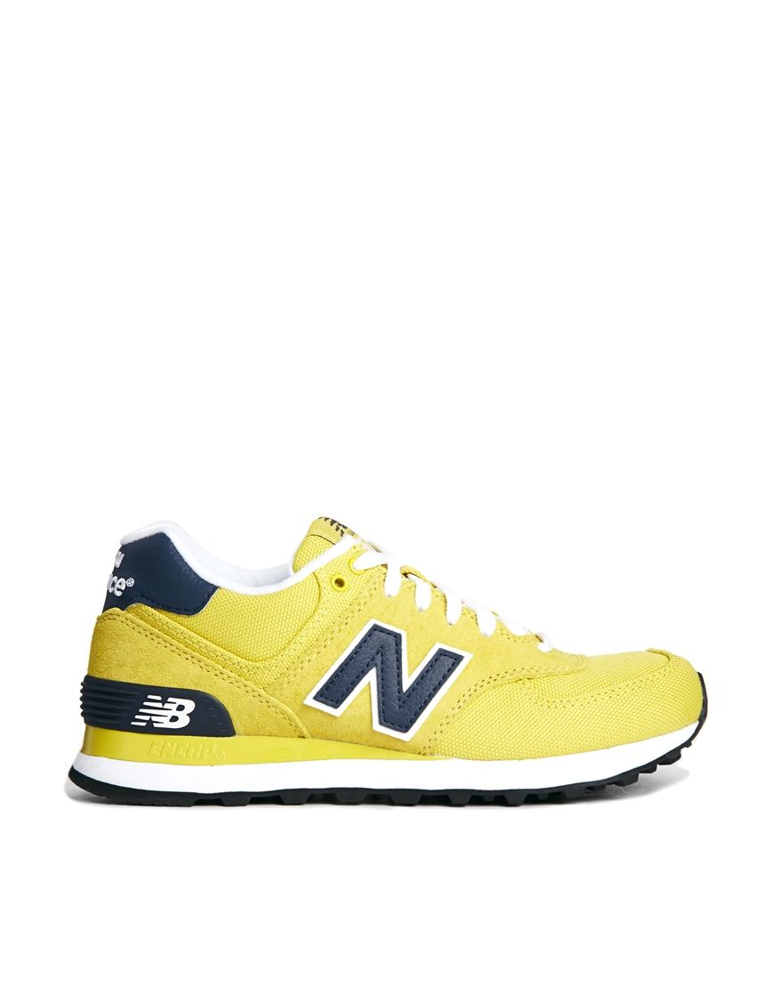 New Balance Yellow Suede and Canvas 574 Trainers