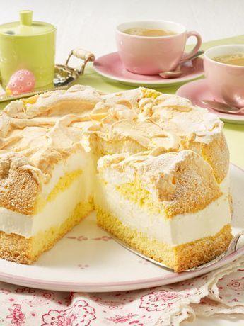 Zitronencreme-Torte mit Baiserhaube Rezept | LECKER