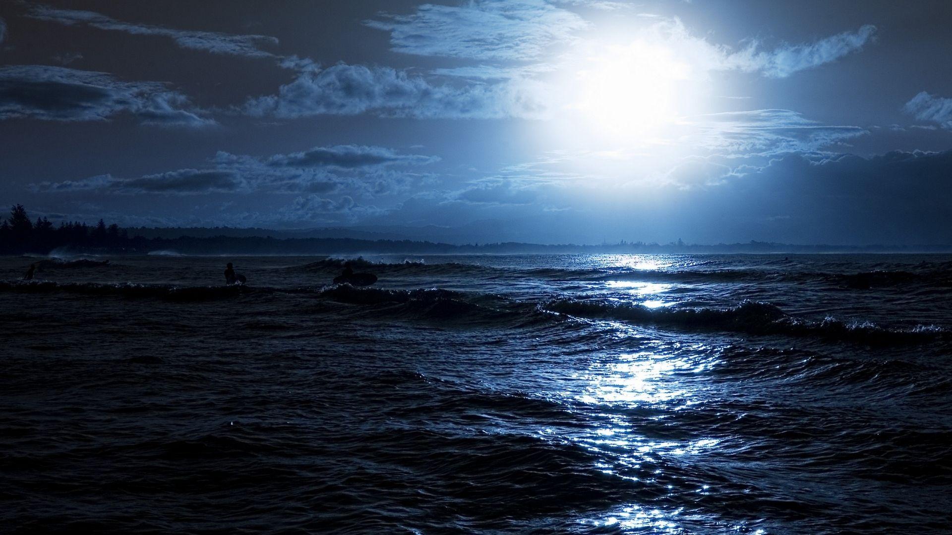 Download Wallpaper 1920x1080 Moon, Night, Ocean, Coast