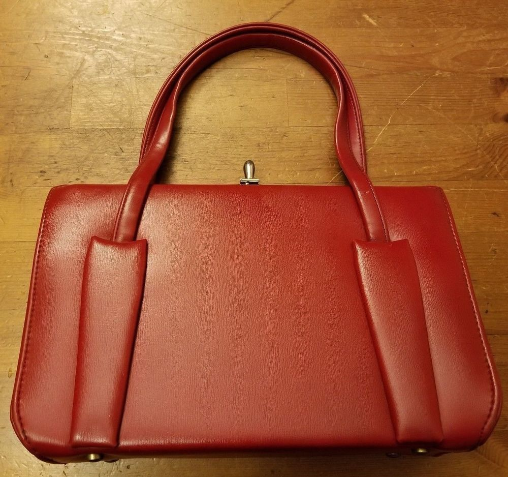 Vintage Berne Red Vinyl Pocketbook Handbag 1960s Purse Everyday