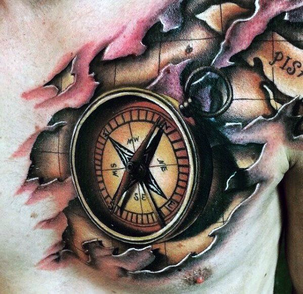 a287df04f 50 Awesome 3D Chest Tattoo Designs | Tattoos | Compass tattoo design ...