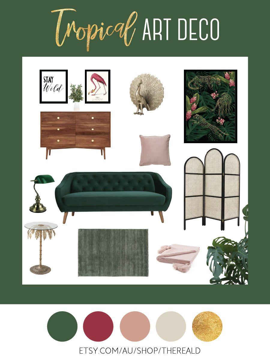 Tropical Art Deco Look Art Deco Living Room Green Couch Living Room Interior Design Mood Board