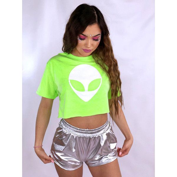Neon Alien Crop Top Rave Outfit Festival Clothing Neon Shirt Womens