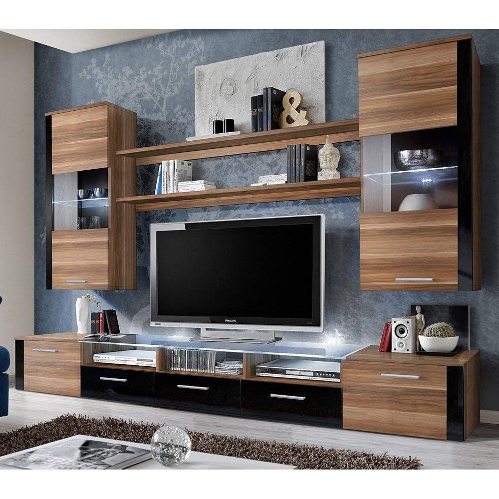 Fresh Plum Black Wall Unit Fresh Meble Furniture Wall Units In 2021 Wall Tv Unit Design Wall Unit Modern Tv Wall Units