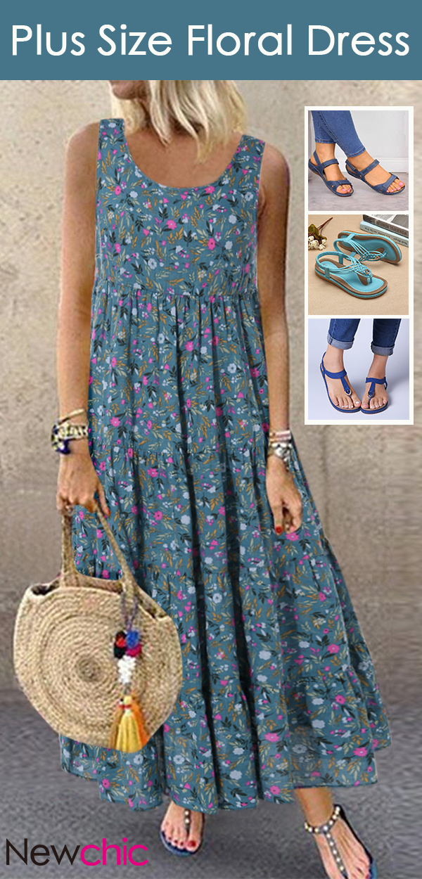 Photo of #How To Wear# Plus Size Maxi Dress & Elastic Flat Sandals