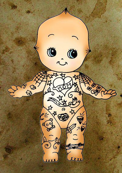 Tattoo Baby Kewpie Doll Art Print