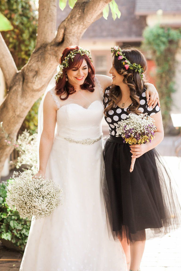 Polka dot bridesmaid wedding dress flower crown babies breath