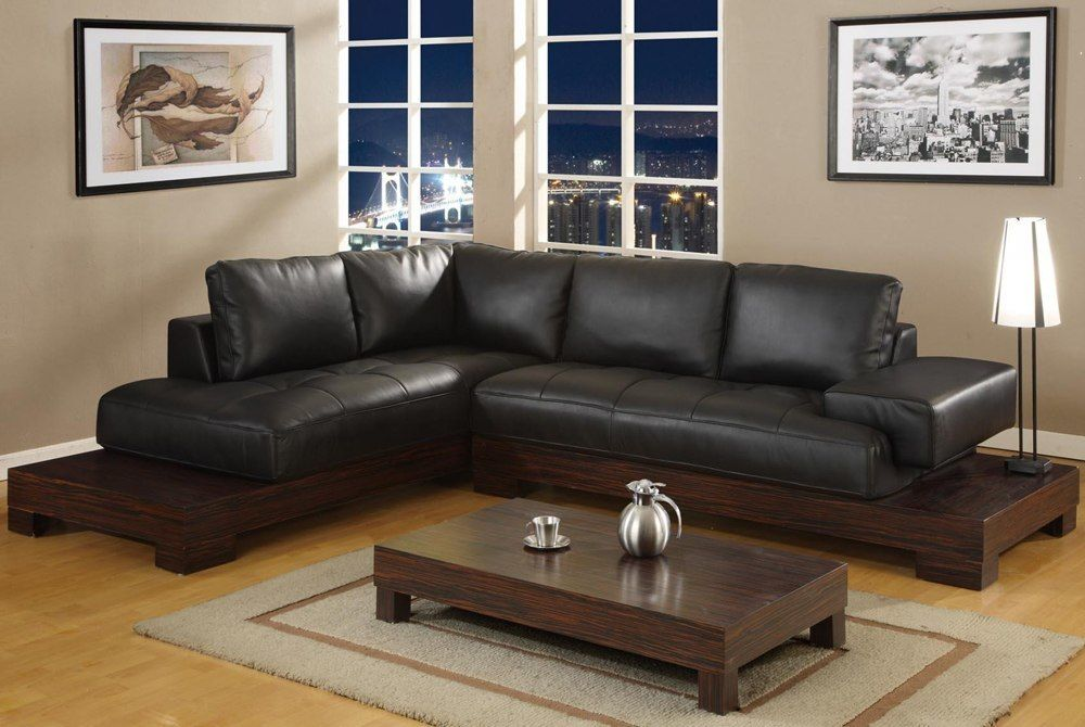 L Shaped Sofa On Brown Wooden Base Living Room Leather Leather Sofa Decor Black Furniture Living Room