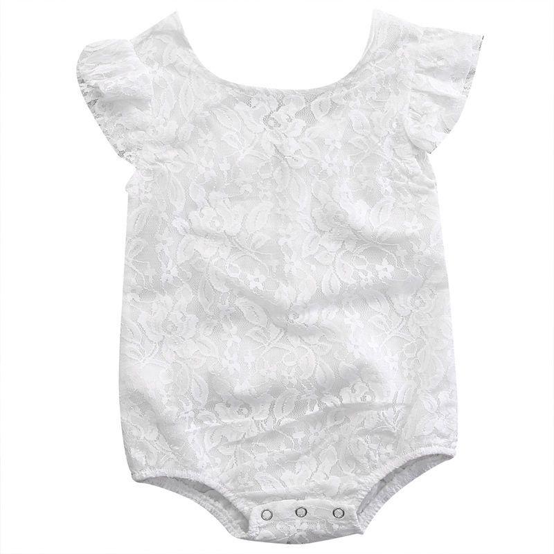 Newborn Baby Girls Infant white lace Romper Jumpsuit Bodysuit Summer Clothes
