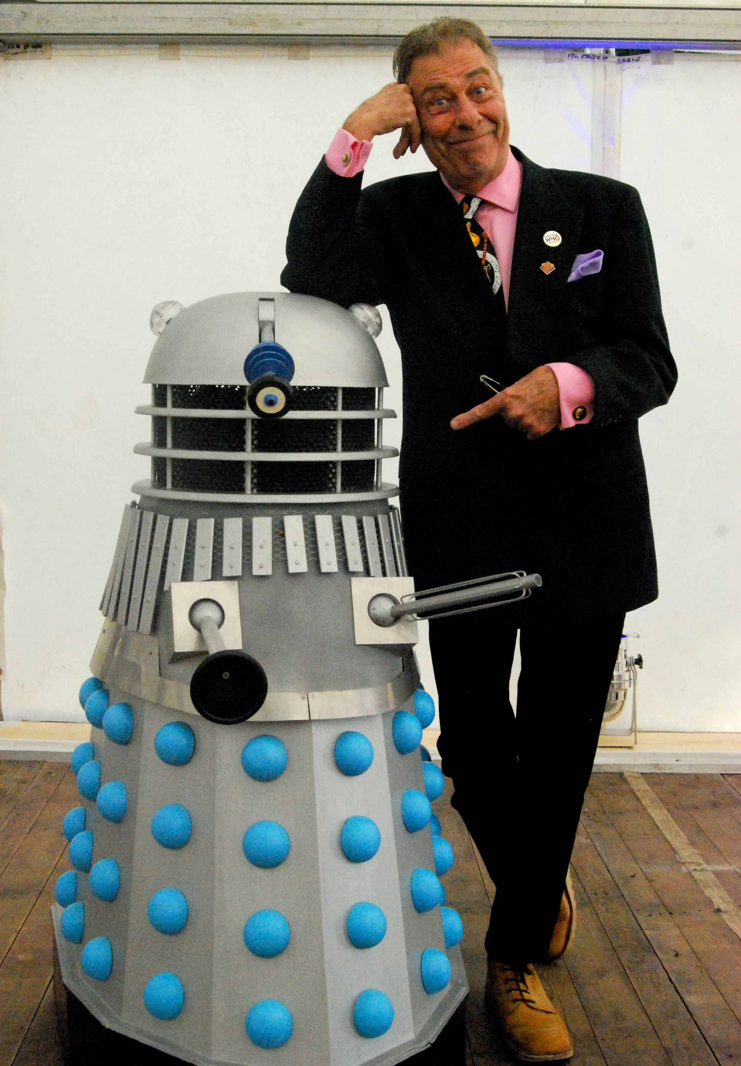 Ethan has a photo inside Diddydalek with John Levene at