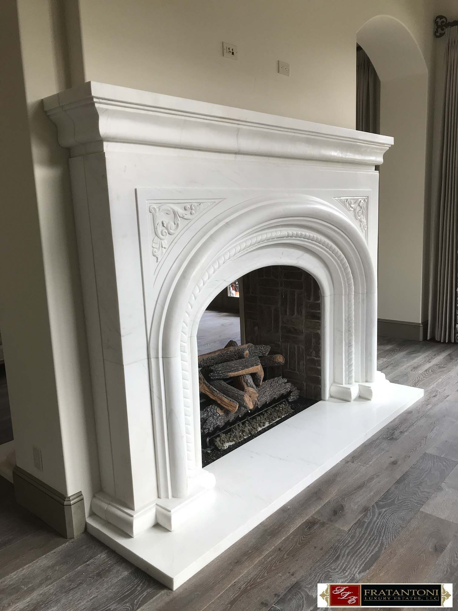 Master Sitting Carved Stone Fireplace Surround in White Marble ...