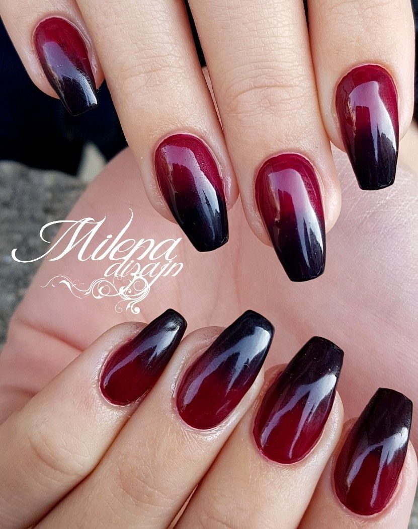 Black red nails | Red ombre nails, Red nails, Almond nails red