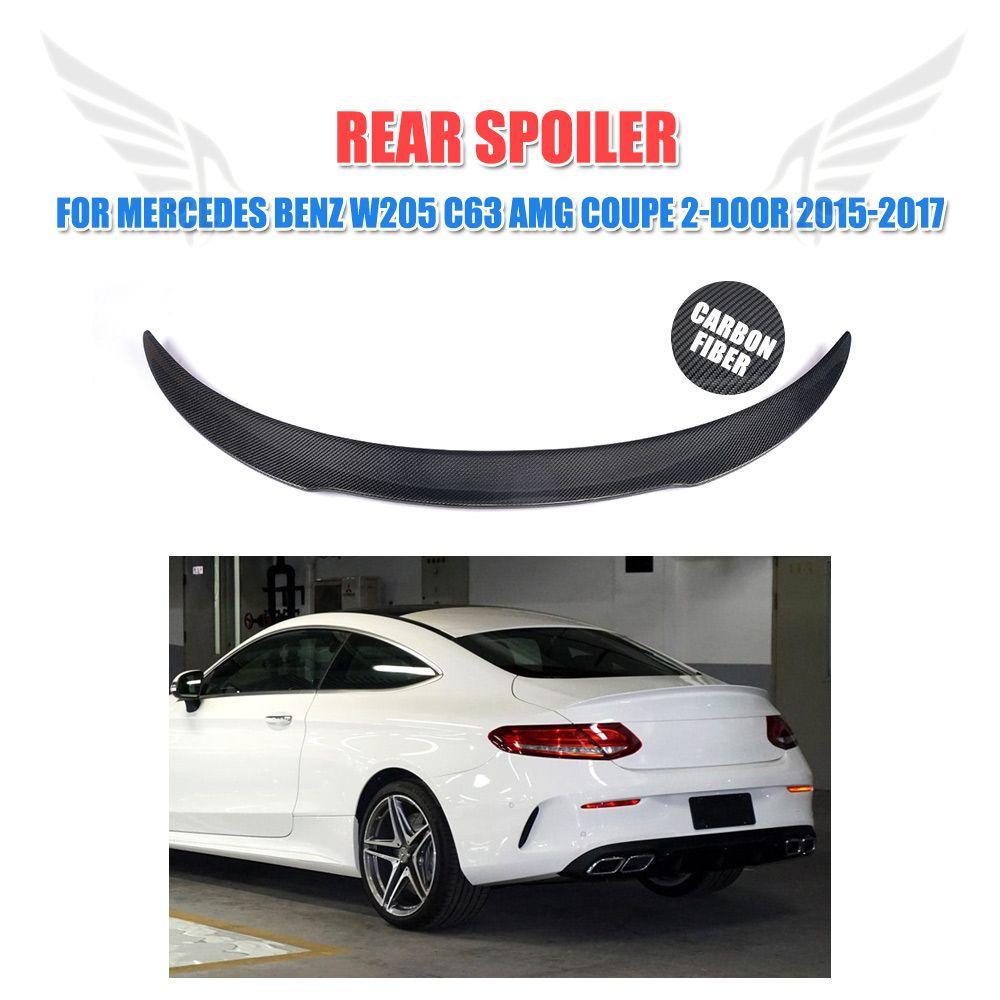 W205 Carbon Fiber Rear Trunk Spoiler Wing Lip Sticker F Style For Mercedes Benz C Class W205 C63 Amg Coupe 2 Door 2015 2017 Benz C Mercedes Benz Benz
