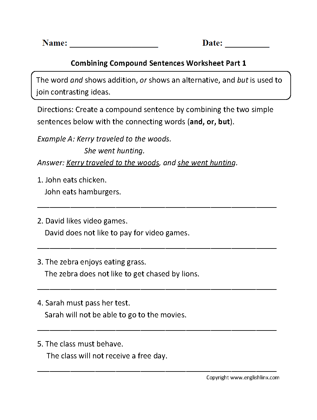 small resolution of Compound Sentences Worksheet With Answers - Worksheet List
