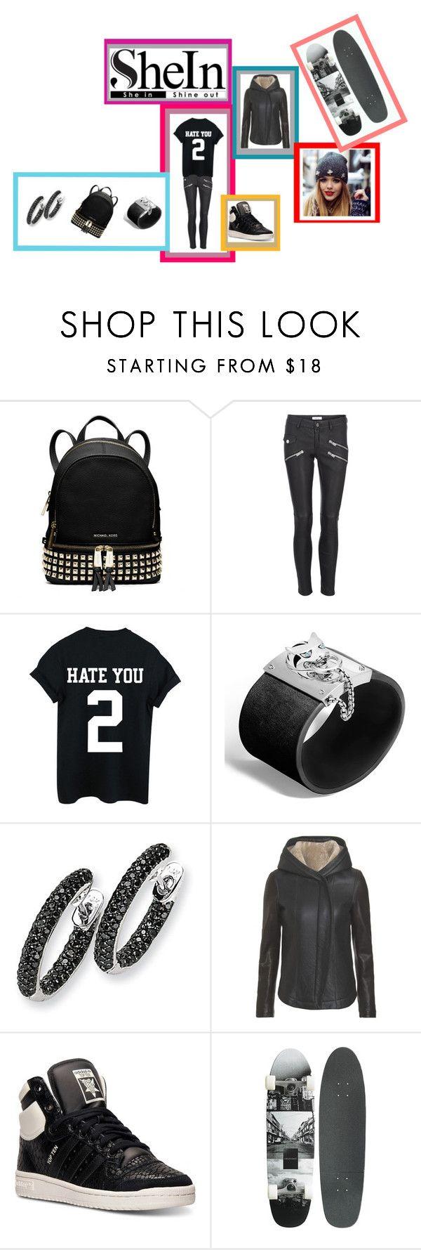 """Black T-Shirt w/ SheIn"" by kitty-hiruma on Polyvore featuring MICHAEL Michael Kors, John Hardy, Kevin Jewelers, Wayne and adidas"