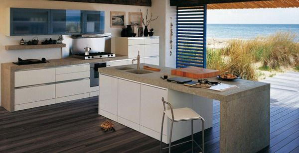 Modern Kitchen Design With Cool Beach View #beachkitchenideas