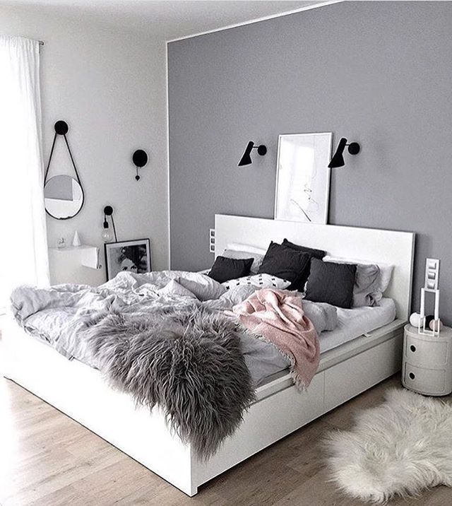 Ordinary Trendy Room Ideas Part - 4: Amber Graham The Walls Are Grey And There Is A Blanket The Same Color As  The Walls Scheme Is Neutral .