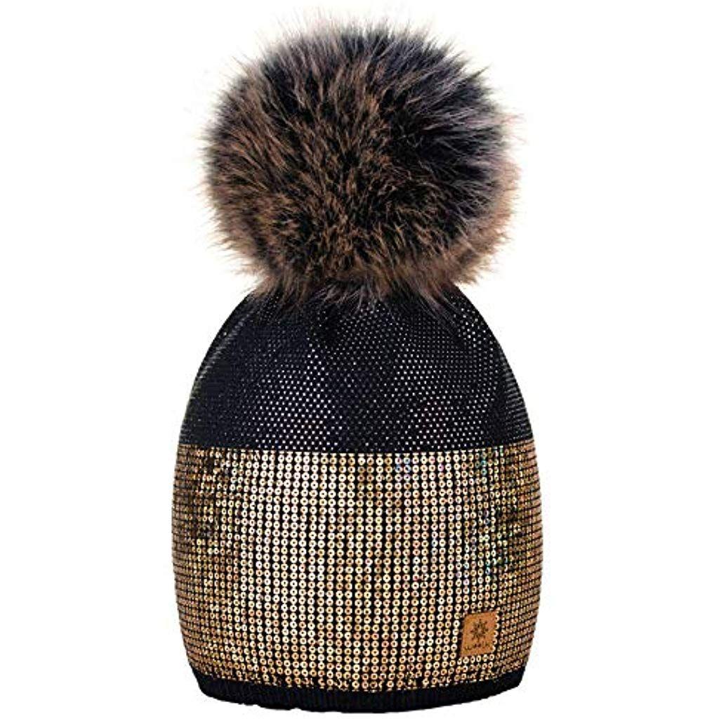 Winter Autunno Inverno Cappello Cristallo Più Grande Pelliccia Pom Pom  Invernale di lana Berretto Delle Signore 3c2ea1770167