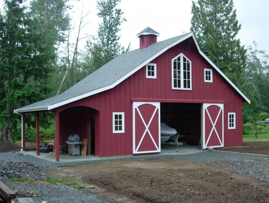 Modern Red Nuance Of The Wooden Pole Barn Kits For Sale