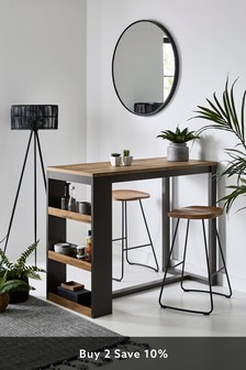 27 a tall industrial console table on hairpin legs and matching tall stools of wood and metal - DigsDigs