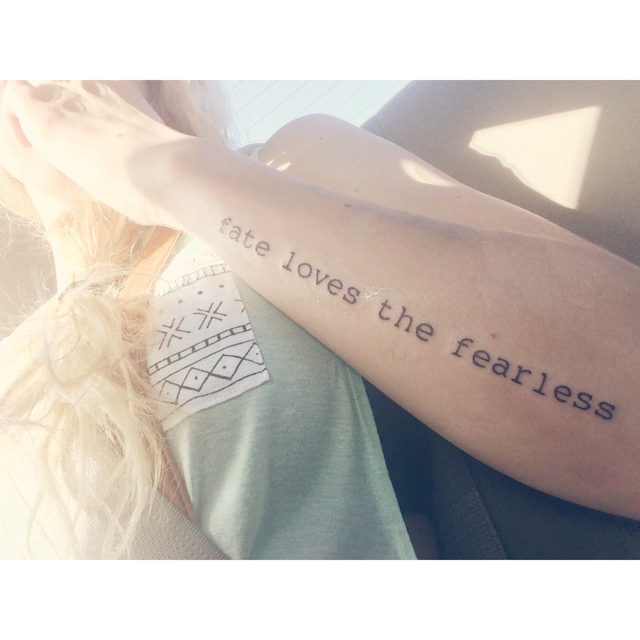 Fate Loves The Fearless Quote Tattoo