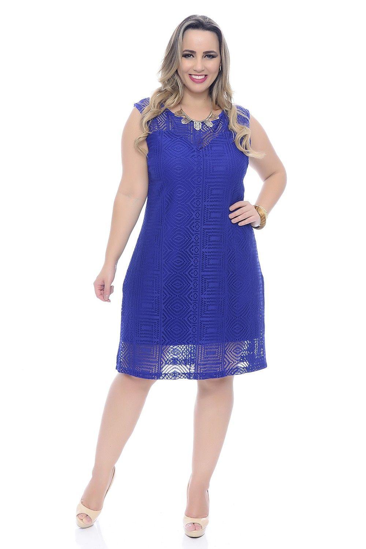 Vestido Plus Size Tubinho Rendado Azul Royal | VESTIDO PLUS SIZE ...
