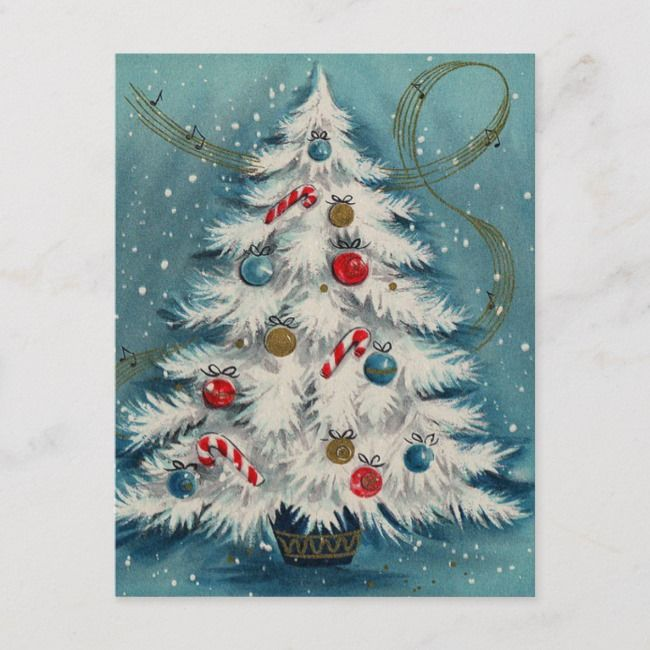 White Christmas Tree In The Snow Christmas Scene Holiday Postcard Ships worldwide