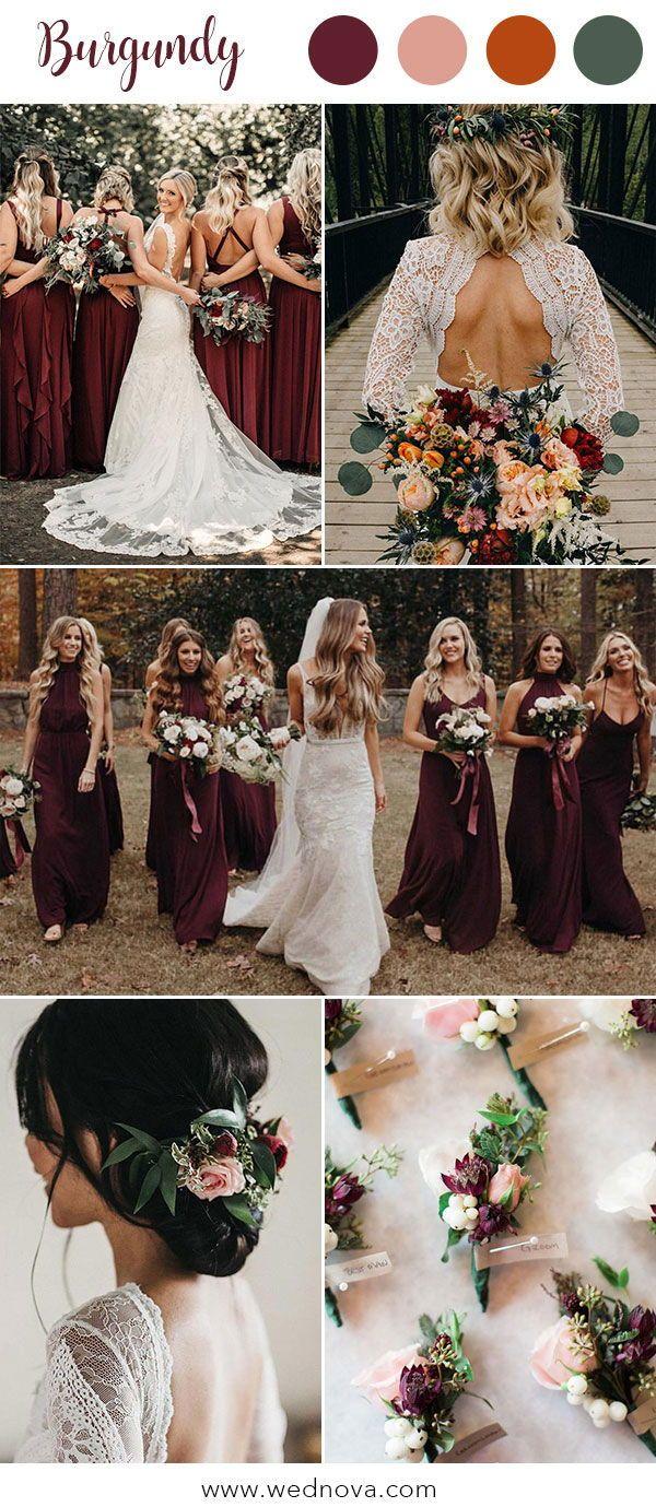 10 Hot Wedding Color Palettes for 2019 Trends Burgundy