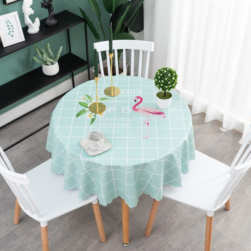 Round Pvc Waterproof Tablecloth Home Decor Plastic Table Cover Oil Proof Party Dining Table Cloth European Dining Table Cloth Table Style Plastic Table Covers