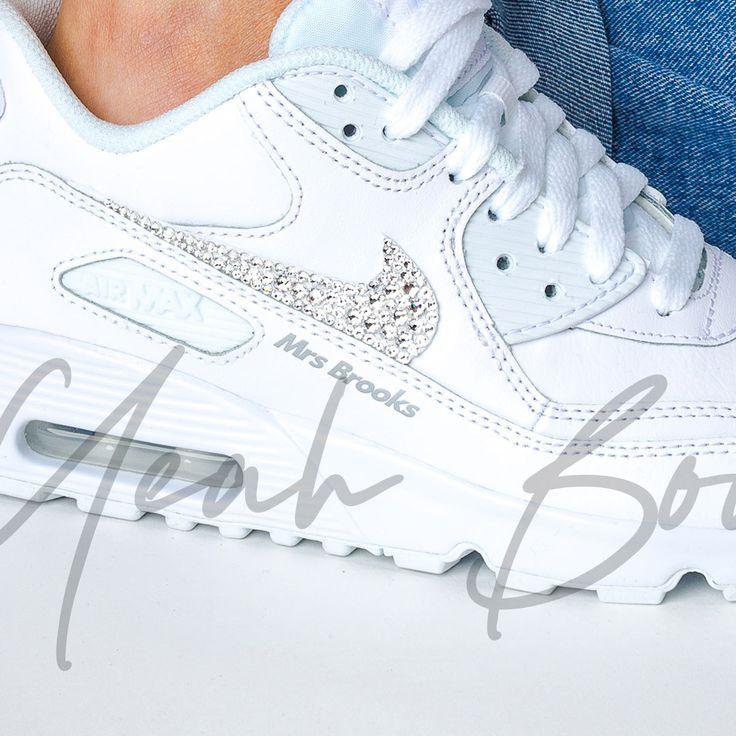 Nike Wedding Shoes Air Max 90 L Custom Bride Nike Wedding Trainers Wedding Sneakers Wedding Shoes Elegant Wedding Shoes