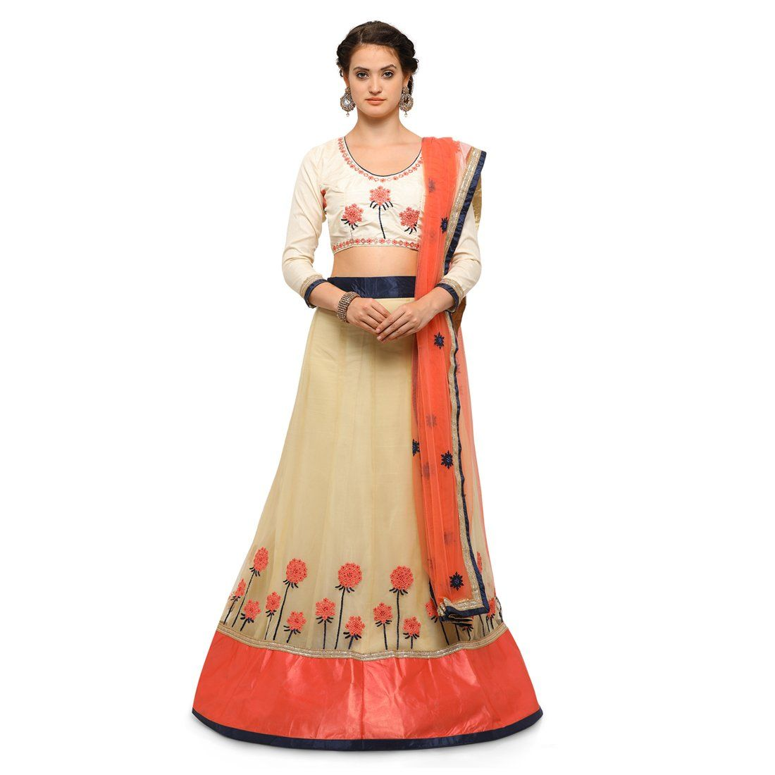 Manvaa net women   embroidered lehenga in beige color amazon clothing accessories also red bangalori silk choli beautiful dress buy now rh pinterest