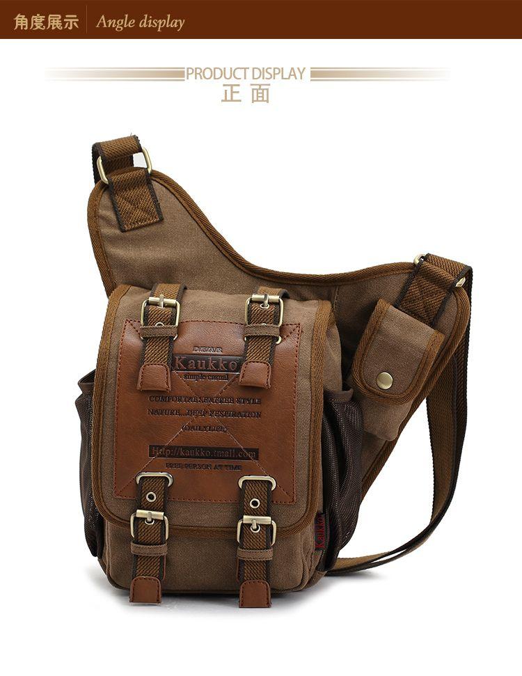 Men Vintage Canvas Leather Satchel Shoulder Messenger Sling Chest Bag Cross Body