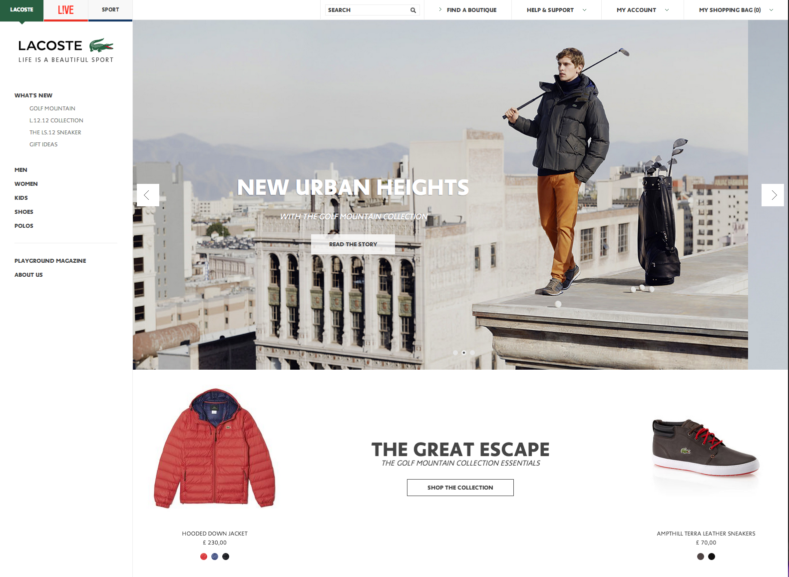 new styles d6f64 b20f7 Lacoste homepage - clean design, product focussed #ecommerce ...
