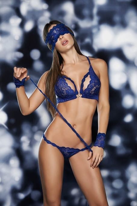 8976605848 Mapale Royal Blue 4 Piece Lace Bra Set MA8218RB via Love Temptation. Click  on the image to see more!