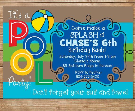 invitación fiesta de piscina