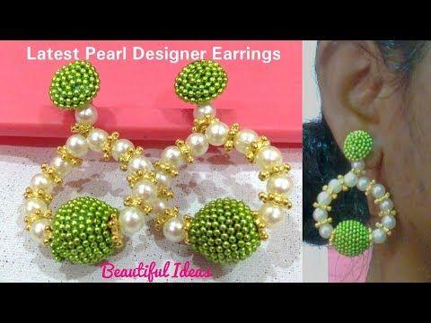 How to make Silk thread Designer Earrings//Hoop Designer Earrings ...