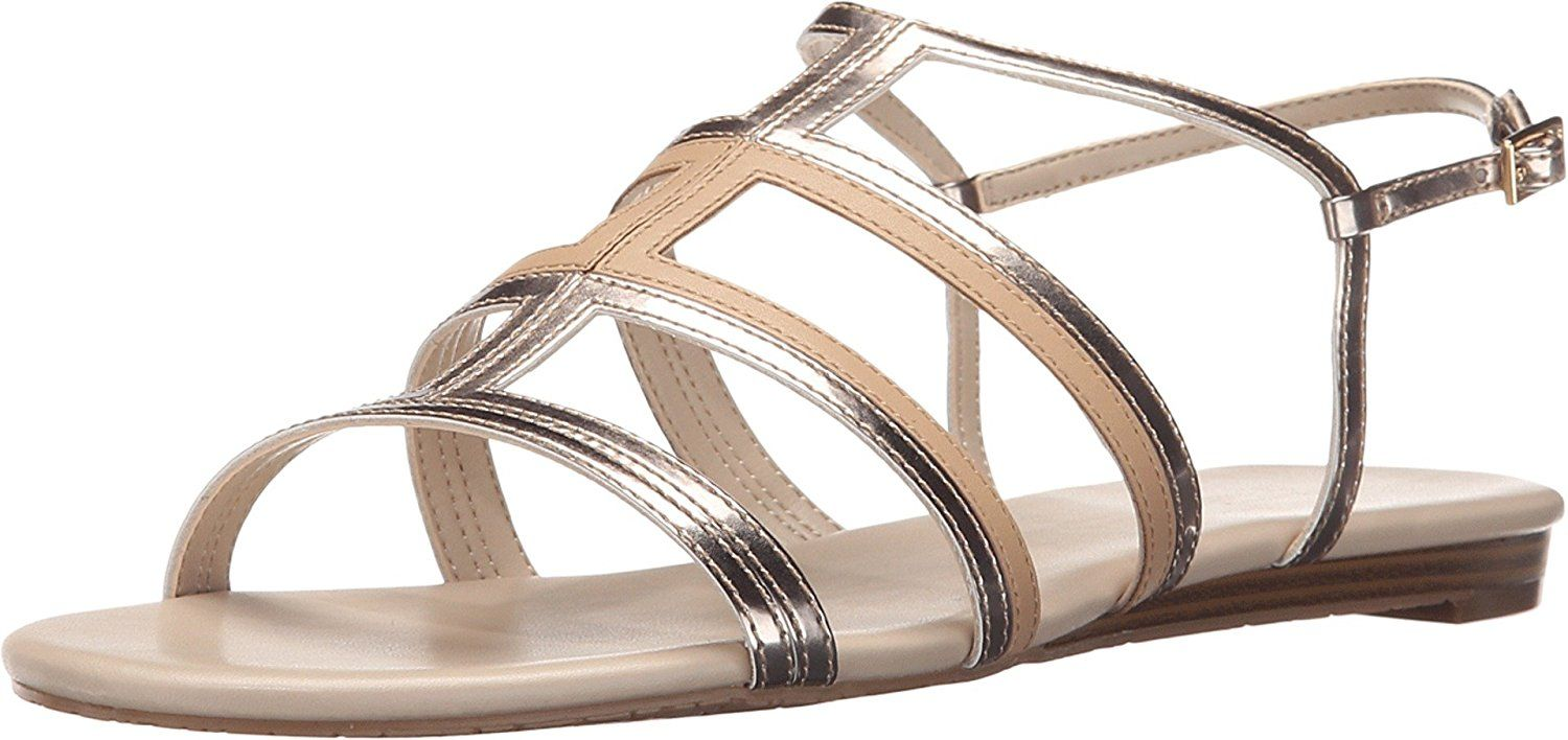 Calvin Klein Women's Swift Gold/Nude/Gold Synthetic Sandal -- Click image to