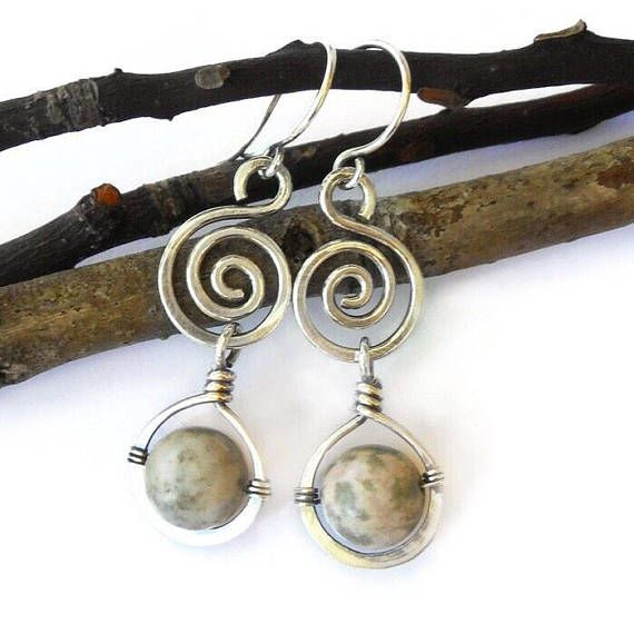 Silver wire wrapped earrrings with Nevada Lapis~ Wire wrapped ...
