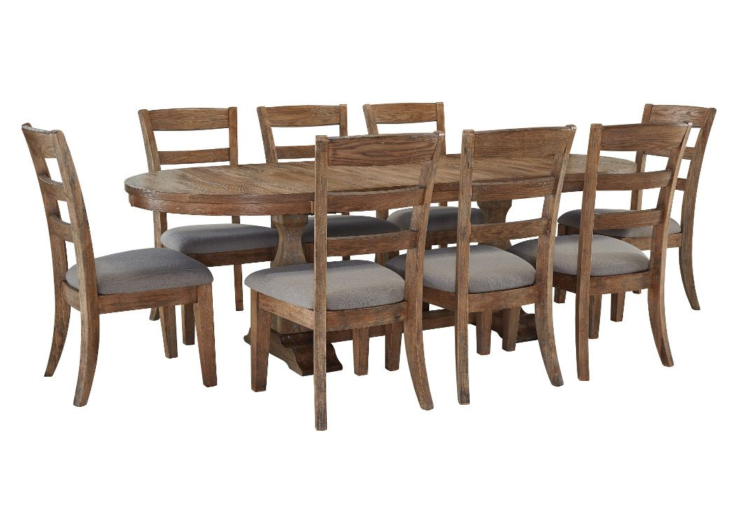 wcc furniture lafayette la danimore light brown oval extension table w 8 upholstered